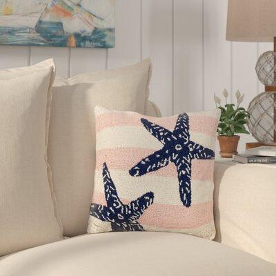Hoch Pink Stripe Starfish Wool Throw Pillow