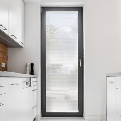 Cordless Mini Horizontal Slat Window Shade Room Darkening Venetian Blind Blind Size: 34 W X 64 L, Color: Gloss White