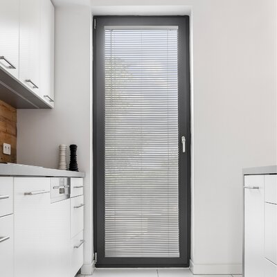 Cordless Mini Horizontal Slat Window Shade Room Darkening Venetian Blind Blind Size: 34 W X 64 L, Color: Gloss Gray