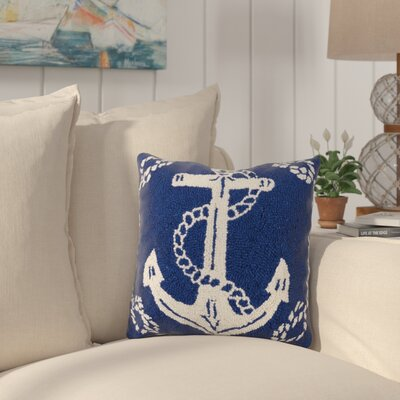 Eades Anchor Nautical Wool Throw Pillow
