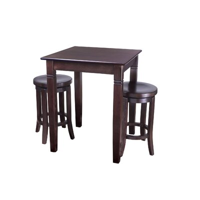 Ladderback 3 Piece Pub Table Set Finish: Walnut