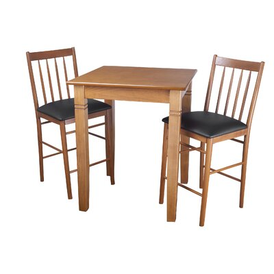 Ladderback 3 Piece Pub Table Set Finish: Cherry