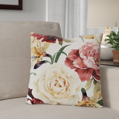 Willey A Floral Afternoon Periwinkle Outdoor Throw Pillow Color: Peach