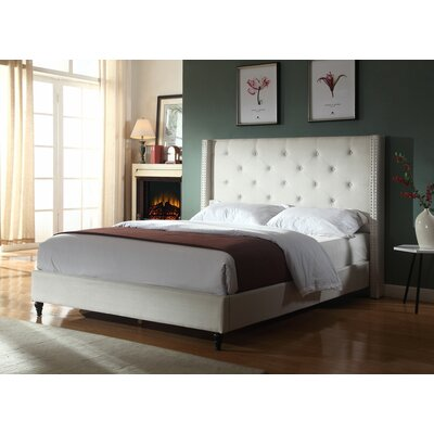 Priestley Upholstered Platform Bed Size: Queen, Color: Beige