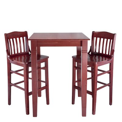 Kershaw 3 Piece Pub Table Set Finish: Mahogany