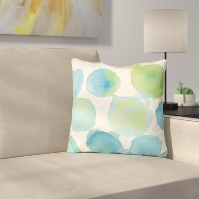 Petrin Watercolor Polka Dots Throw Pillow Size: 16 x 16