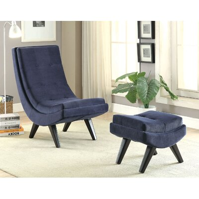 Forbes-Morris Lounge Chair with Ottoman Upholstery: Navy