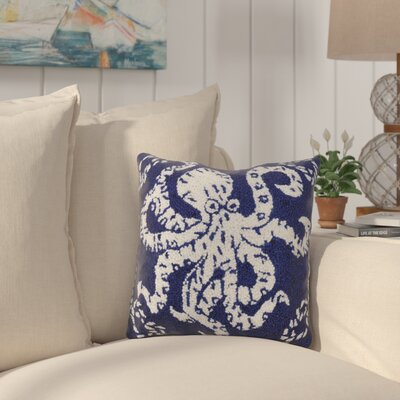 Eadie Octopus Nautical Wool Throw Pillow