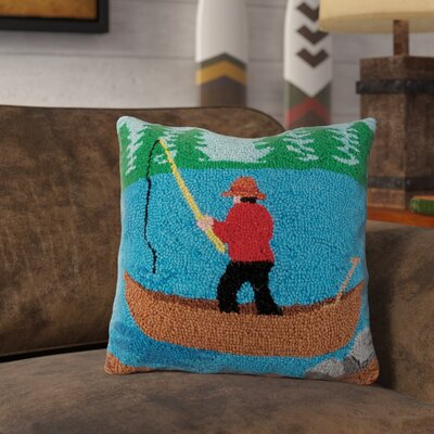 Ransdell Fishing Scene Wool Throw Pillow