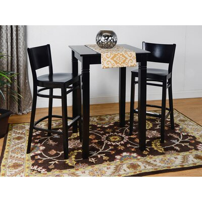 Irons Wood Seat 3 Piece Pub Table Set