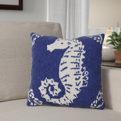Dysart Seahorse Nautical Wool Throw Pillow