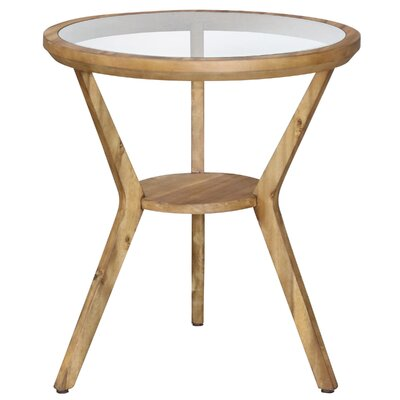 Swineford Round Glass Top End Table with Storage