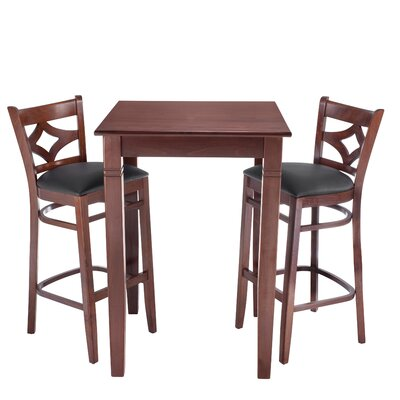 Mignone 3 Piece Pub Table Set Finish: Medium Oak