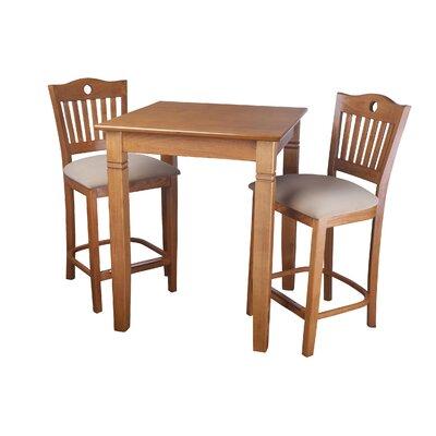 Ladderback Counter 3 Piece Pub Table Set