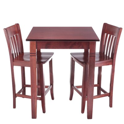 Ladderback 3 Piece Pub Table Set Finish: Mahogany