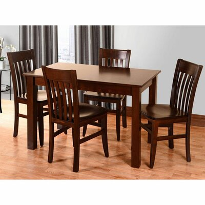 5 Piece Dining Set Color: Walnut