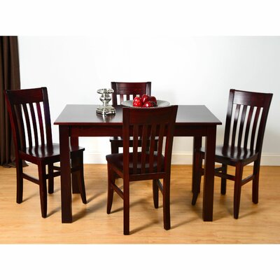 5 Piece Dining Set Color: Dark Mahogany