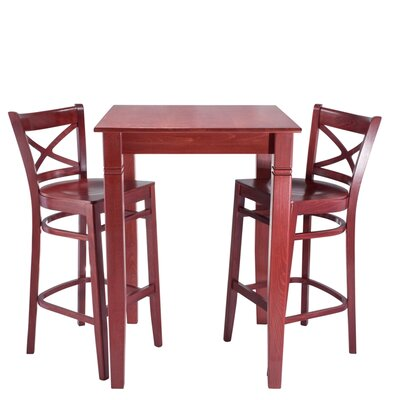 Wood Seat 3 Piece Pub Table Set