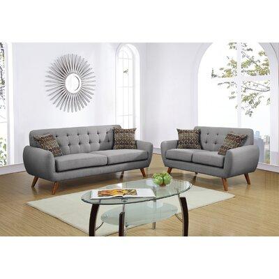 Luken 2 Piece Living Room Set Upholstery: Gray