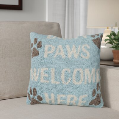 Dirty Paws Welcome Here Wool Throw Pillow