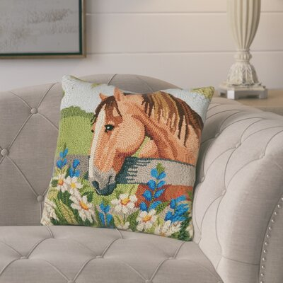 Gardea Horse with Bonnets Wool Throw Pillow