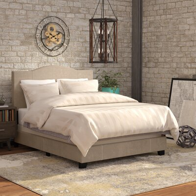 Black Mesa Modified Camel Back Upholstered Panel Bed Size: Queen, Color: Denim Sand