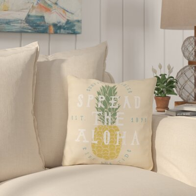 Bowfin Spread The Aloha Outdoor Throw Pillow Size: 16 x 16