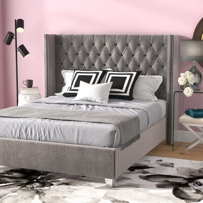 Inverness Upholstered Platform Bed Size: Queen, Color: Gray