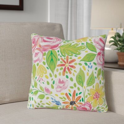 Feng Flowers Throw Pillow Size: 18 x 18