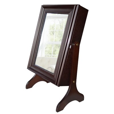 Halter Tabletop Jewelry Armoire with Mirror Finish: Dark Walnut