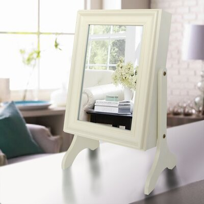 Halter Tabletop Jewelry Armoire with Mirror Finish: Ivory
