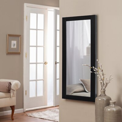 Halter Wall Mounted Jewelry Armoire with Mirror Finish: Black