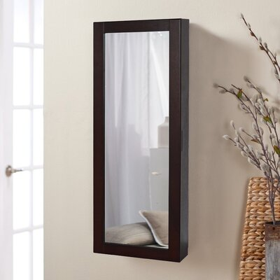 Halter Wall Mounted Jewelry Armoire with Mirror Finish: Dark Walnut