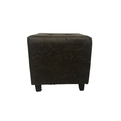 Tannenbaum Antique Square Ottoman Leather Type: Brown