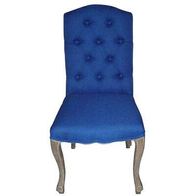 Aucoin Estelle Designer Upholstered Dining Chair Upholstery: Cobalt