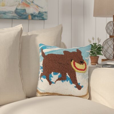 Hinton Charterhouse Dog and Frisbee Wool Throw Pillow