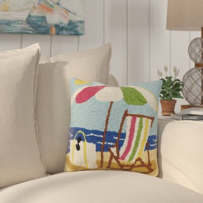 Hisle Beach Scene Sunshine Wool Throw Pillow