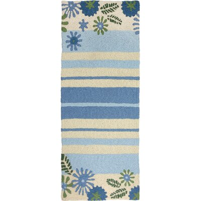 Jaggers Daisies and Stripes Hand-Hooked Green Indoor/Outdoor Area Rug Rug Size: Runner 19 x 46