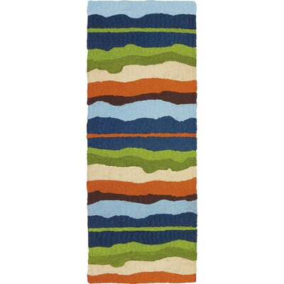 Caine Capri Stripe Hand-Hooked Green Indoor/Outdoor Area Rug Rug Size: Runner 19 x 46
