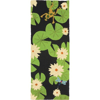 Ismail Lily Pad and Frogs Hand-Hooked Black Indoor/Outdoor Area Rug Rug Size: Runner 19 x 46