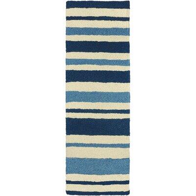 Candide Nautical Stripe Hand-Hooked Blue Indoor/Outdoor Area Rug Rug Size: Runner 19 x 46