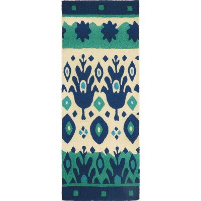 Vine Ikat Hand-Hooked Blue/Green Indoor/Outdoor Area Rug Rug Size: Runner 19 x 46
