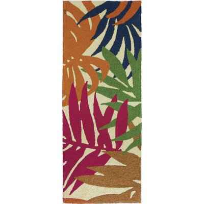 Waldport Colorful Palms Hand-Hooked Tan Indoor/Outdoor Area Rug Rug Size: Runner 19 x 46