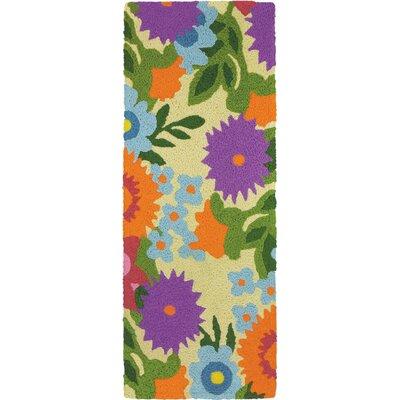 Iser Flowery Garden Hand-Hooked Purple Indoor/Outdoor Area Rug Rug Size: Runner 19 x 46