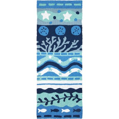 Bemelle Bay Hand-Hooked Navy Blue Indoor/Outdoor Area Rug Rug Size: Runner 19 x 46
