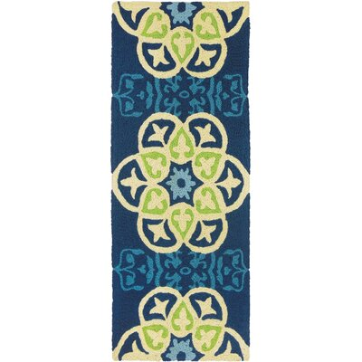 Bessin Barcelona Tile Hand-Hooked Blue Indoor/Outdoor Area Rug Rug Size: Runner 19 x 46