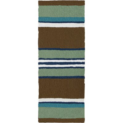 Caterina Woodbine Hand-Hooked Brown Indoor/Outdoor Area Rug Rug Size: Runner 19 x 46