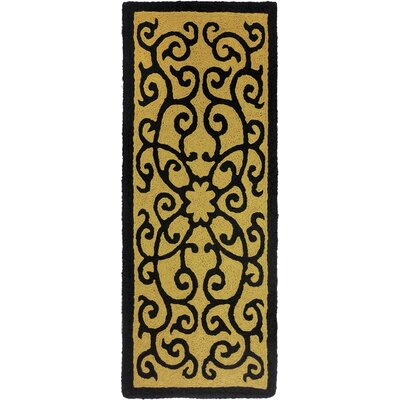 Clayfield Iron Gate Hand-Hooked Brown Indoor/Outdoor Area Rug Rug Size: Runner 19 x 46