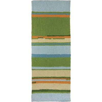 Carbone Patio Stripes Hand-Hooked Green Indoor/Outdoor Area Rug Rug Size: Runner 19 x 46
