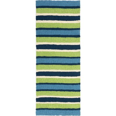 Carvell South Bay Hand-Hooked Lime Green Indoor/Outdoor Area Rug Rug Size: Runner 19 x 46